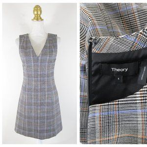 Theory Easy V Neck Autumn Plaid Shift Dress 4
